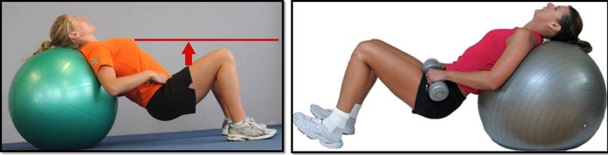 упражнения для похудения бедер - Подъем на фитболе