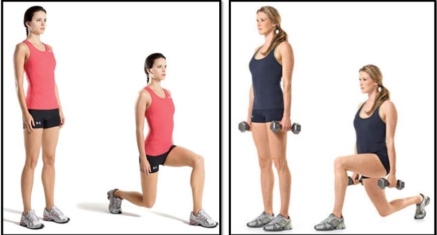 упражнения для похудения бедер - Выпады