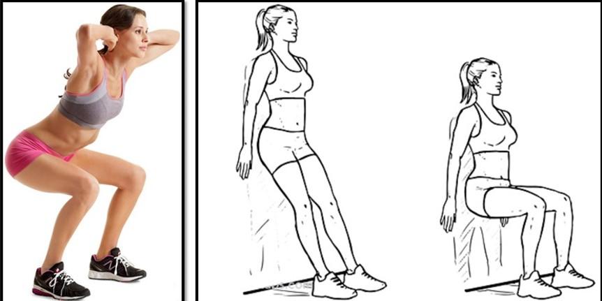 упражнения для похудения бедер - приседание