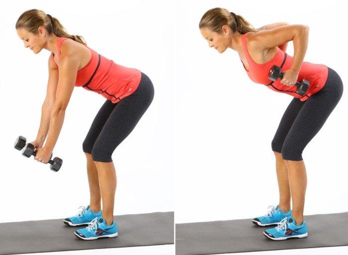 Упражнение для мускул спины, для женщин.